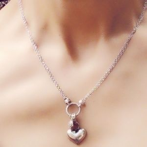 Gorgeous Sterling Silver/Crystal Heart Necklace
